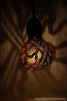 Table lamp III Height of the lamp is 33cm, diameter of the lampshade is 15cm. Stand was finished off with linen string. The base is carved in wood. Lampshade was decorated with blue& violet cra…