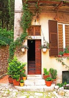 tall & skinny double doors, with window shutters to match :: Open Door, Eze, France