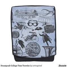 Steampunk Collage Time Traveler Backpack