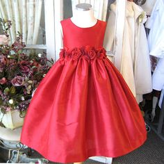 Red silk party dress for special events