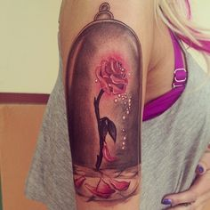 Omg, beauty and the beast Disney tattoo,  rose