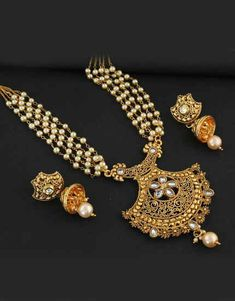 f62bba033c4 Gold Tone Artificial Pendant With Pearl Chain Studded With Stones Pendant  Earring Set  goldjewellery Jewelry