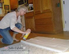 how to spray baste your quilt, use De-Solv-it to wipe any overspray off the floor. I spray the fabric not the batting as in this post