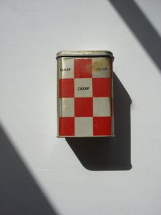 Red checkerboard Tins / Soviet Kitchen Storage от OldMoscowGallery