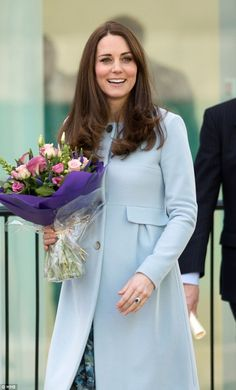 Nothing will please Charles more than the arrival of a second grandchild this spring, pictured is pregnant Duchess of Cambridge opening Kensington Leisure Centre in January