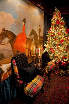 Love the tartan chairs, too. Also SMW design. His style is fabulous. I used to ride sidesaddle and have always loved this print/painting. Tartan Christmas, Country Christmas, All Things Christmas, Christmas Holidays, Christmas Decorations, English Christmas, Royal Christmas, Celebrating Christmas, Merry Christmas