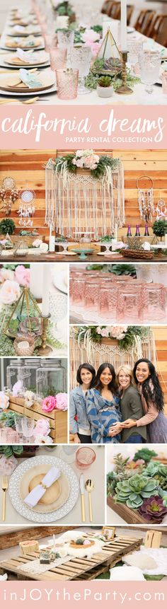 A gorgeous pre-curated rental collection with succulents, pops of blush, dreamcatchers, and rustic wood accents. Take a step into this tranquil and dreamy collection and feel the California desert just under your toes! Everything here can be prepackaged and ready to rent. Take out the guess work in party rentals, and make it yours for your next baby or bridal shower! @inJOYtheParty