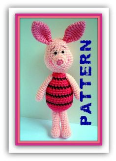 PDF Amigurumi Piglet Crochet Pattern Winnie the Pooh by AllSoCute, Knit Or Crochet, Cute Crochet, Crochet Crafts, Yarn Crafts, Crochet Baby, Crochet Projects, Crochet Patterns Amigurumi, Crochet Dolls, Knitting Patterns