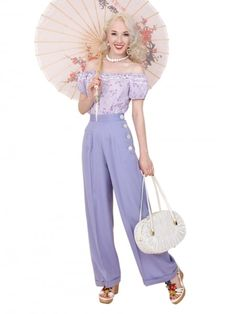 da62f950cdf 1940s Swing Trousers Lilac From Vivien Of Holloway