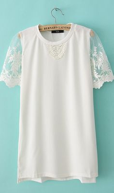 Lace sleeve round collar T-shirt B7918068 White