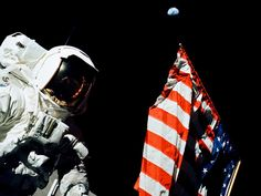 Last Flag on the Moon: Astronaut Harrison Schmitt on the moon during Apollo 17 in December, 1972. Photo by NASA. #Apollo_17 #NASA