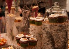 woodland theme - using stumps & branches for cake stands and food displays