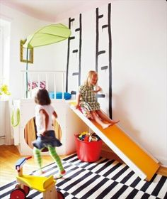 children's play rooms - love slide & cubby hole idea