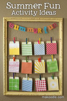 Summer Fun Activity Ideas  ((It's like a countdown.  Each card holds a fun activity you pick each day. Free printables. S.))