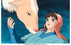Princess Mononoke Ashitaka and Yakul Production Cel with Production Background and Animation Drawing (Studio Ghibli) Film Up, The Best Films, Princess Mononoke, Hayao Miyazaki, Classic Films, Animation Film, Studio Ghibli, Original Paintings, Auction