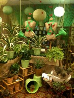 Visual merchandising. Florist Garden Center Store Display.
