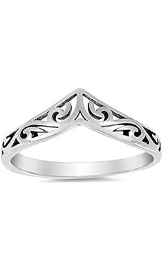 23f0975b059 Filigree Celtic Chevron Thumb Ring 925 Sterling Silver Victorian Band Sizes  3-13
