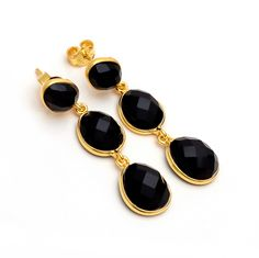 Black onex 925 silver sterling gold plated Earrings!