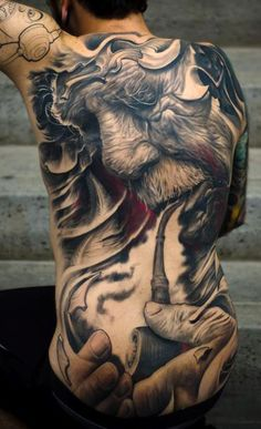 d0f75099d5766 Black and Grey Realism - Elderly man smoking a pipe tattoo - Artist: Victor  Portugal. Latin Ink Magazine
