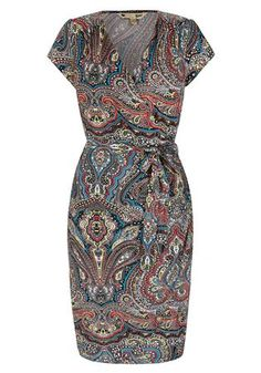 Paisley Print Wrap Dress Black hi-res | Yumi