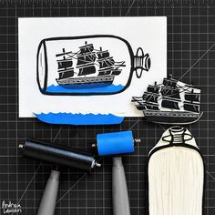 Andrea Lauren (@inkprintrepeat) | Starting the work week carving and printing a ship in a bottle.: