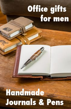 Find the best office and desk gifts for men! Handmade wood pens, leather journals for men, and everything else for the man who has everything.   http://www.handmadeformen.com