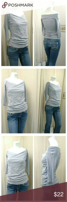 """STANDARD JAMES PERSE  off shoulder knit top Gray ruched 3/4 sleeve knit top  93% cotton  7%polyrethane Chest /bust 15"""" Shoulder 18"""" Length collar to hem 23"""" Excellent condition standard James perse  Tops"""