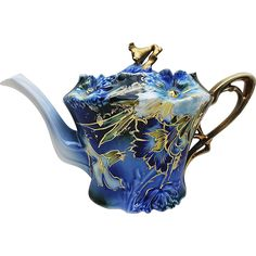Exquisite & Scarce RS Prussia 1900 Cobalt Blue, With Blown Out 'Carnations', 8-1/4' Long Tea Pot #mondayblues -- found at www.rubylane.com #vintagebeginshere