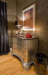 """L'Autre Regard Deco "" by Luka Deco Design © (Philippe by Luka Decoration, via Behance Metallic Painted Furniture, Painting Antique Furniture, Silver Furniture, Metal Furniture, Bedroom Furniture, Furniture Design, Metallic Dresser, Silver Dresser, Painted Dressers"