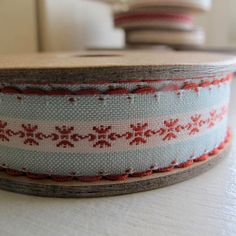 Embroidered Ribbon - white, blue and red