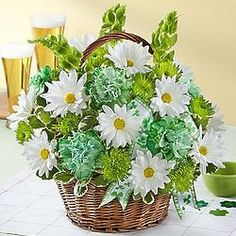 Flower Basket (Small) Make Irish eyes smile with our traditional Romantic day basket arrangement! Featuring stunning beautiful Bells of Ireland flowers, said to bring good luck to anyone who receives them. 800 Flowers, Gold Flowers, Green Carnation, Valentines Flowers, Blooming Plants, Pot Of Gold, Flower Basket, Flower Delivery, Online Gifts