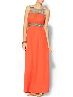 Thml Clothing Maxi Dress With Embroidered Bust - Orange