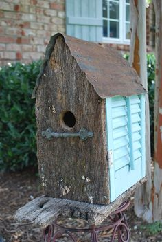 Teal Shutter Wooded Birdhouse Upcycled Recycled Shabby Folk Art