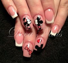 french nails with gold Wedding Manicure Minnie Mouse Nails, Mickey Mouse Nails, Birthday Nail Designs, Birthday Nails, Card Birthday, Birthday Quotes, Birthday Ideas, Birthday Gifts, Cute Nails