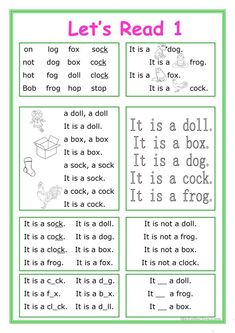 This worksheet is for little kids who start learning English and reading.The vocabulary is for beginners. There are 8 exercises with short Phonics Reading, Reading Comprehension Worksheets, Teaching Phonics, Phonics Worksheets, Reading Passages, Kindergarten Reading, Kids Reading, Reading Skills, Teaching Reading
