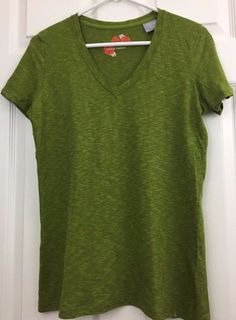 NIKE ACG Tee Short Sleeve Workout V Neck Heather Green Moisture Wicking Size L  #NikeACG #ShirtsTops