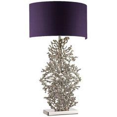 Heathfield & Co Atolli Table Lamp With Half Shade - Purple Premium... (520 AUD) ❤ liked on Polyvore featuring home, lighting, table lamps, purple, light bulb shade, purple table lamp, light bulb lights, light bulb shades and purple light shade