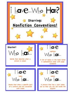 I Have... Who Has w/ Nonfiction Conventions from The Centered School Library: library skills