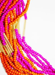 Pink Orange Beads Necklace