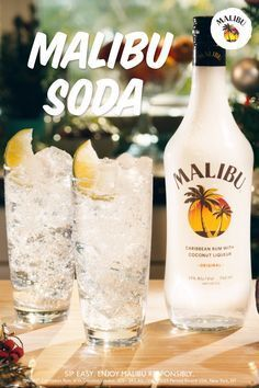Your holiday party just got a whole lot brighter, with our simple & easy-to-make Malibu Soda! This 2-step cocktail is sure to be a crowd pleaser, making it perfect for any social occasion. Here's what you have to do: Pour 1 Part Malibu, 2 Parts Soda Water. It's that simple! Cheers! Party Drinks Alcohol, Liquor Drinks, Alcohol Drink Recipes, Alcoholic Drinks, Kahlua Drinks, Holiday Drinks, Summer Drinks, Fun Drinks, Holiday Parties