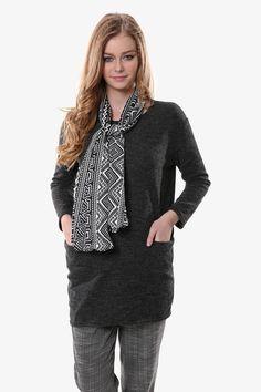 Dark Grey Sweater With Scarf
