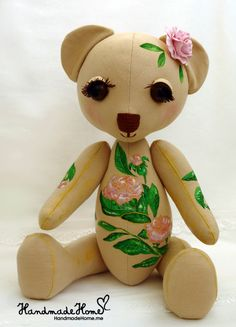Collectible #Art Toy Rima #Teddy #bear #Handmade #interior one of a kind doll - See more at: http://www.handmadehome.me/shop/kukly#sthash.9wlWC9Fj.dpuf