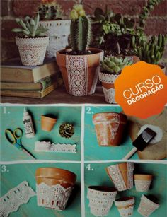 cool DIY flower pots – DIY diy making – Famous Last Words Clay Pot Crafts, Fun Crafts, Diy And Crafts, Flower Pot Crafts, Butterfly Crafts, Cool Diy, Fleurs Diy, Deco Nature, Lace Decor