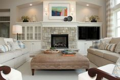 stone fireplace with built ins - Google Search