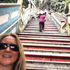 272 steps up to the Hindu temple - batu cave - and we did them all :) #upsticksandgo #batucaves #stairs #malaysia #asia #hindu #hindutemple #KL #kualalumpur #malaysia #travelgram #travellingtheworld #religion #travelphotos