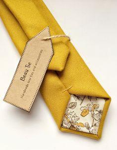 Mens yellow tie, mustard yellow skinny tie, mens skinny tie, golden yellow, wool skinny tie, mens tie, necktie by BeauTieUK on Etsy