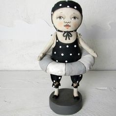 Folk Art Black Polka Dot Swimsuit Doll Sculpture-- Hand Painted Original-- Made to order within a week.