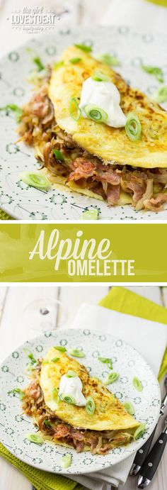 What the hell is an Alpine Omelette? Well, Potato omelette filled with cheese, bacon and onions is just a real mouthful, don't you think? So I called this my alpine omelette. Breakfast Time, Breakfast Recipes, Breakfast Omelette, Breakfast Dishes, Breakfast Casserole, Breakfast Ideas, Omelette Fillings, Cooking Recipes, Healthy Recipes