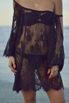 Rise And Shine Black Lace Beach Cover-up Outfit Idea