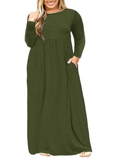7691504723c98 Ashuai Women s Autumn Plus Size Long Sleeve Plain Maxi T Shirt Dress with  Pockets at Amazon Women s Clothing store